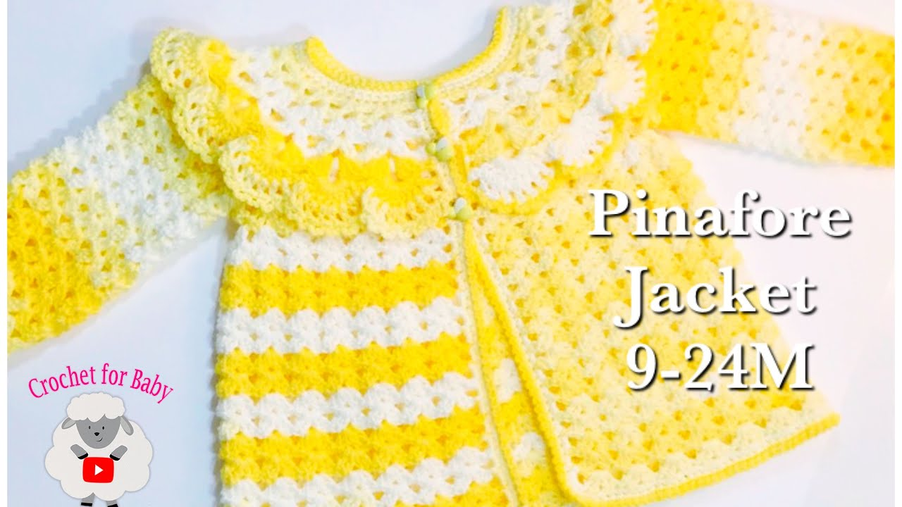 77116d47c1b8 LEFT How to crochet easy pinafore baby sweater cardigan jacket ...