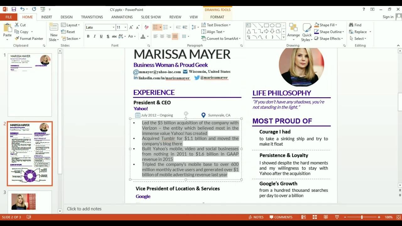 Make A Cv Using Powerpoint
