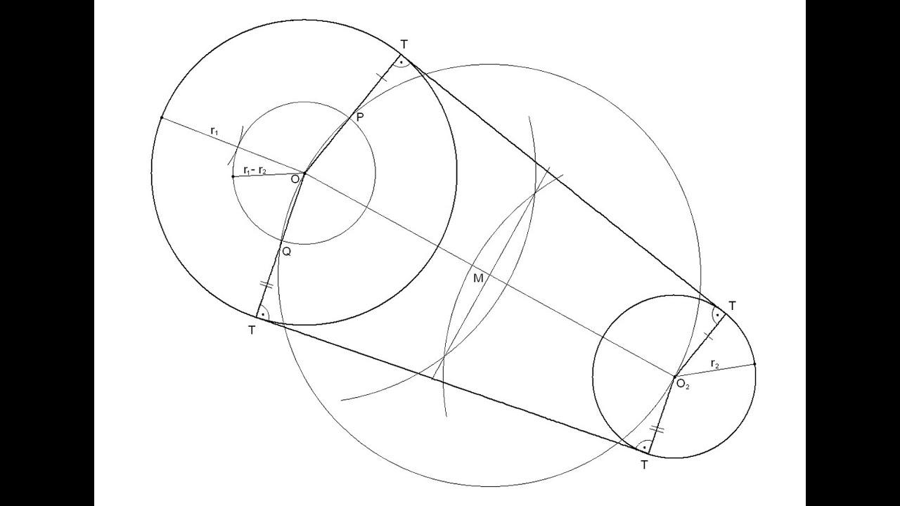 Rectas tangentes exteriores a dos circunferencias dadas