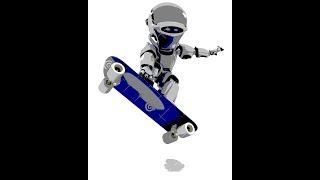 robot skate board fun with slim red my freind