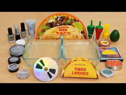 Holo Vs Taco - Mixing Makeup Eyeshadow Into Slime ASMR 351 Satisfying Slime Video
