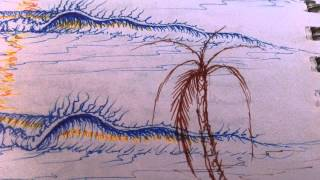 How To Draw waves palm trees with ink pens by Paul Carter 11915
