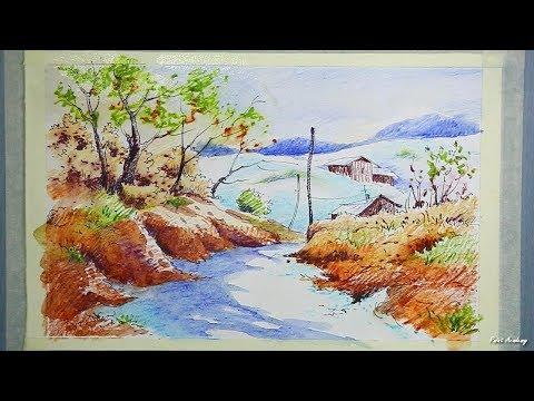 watercolor-pencil-scenery-painting-tutorial