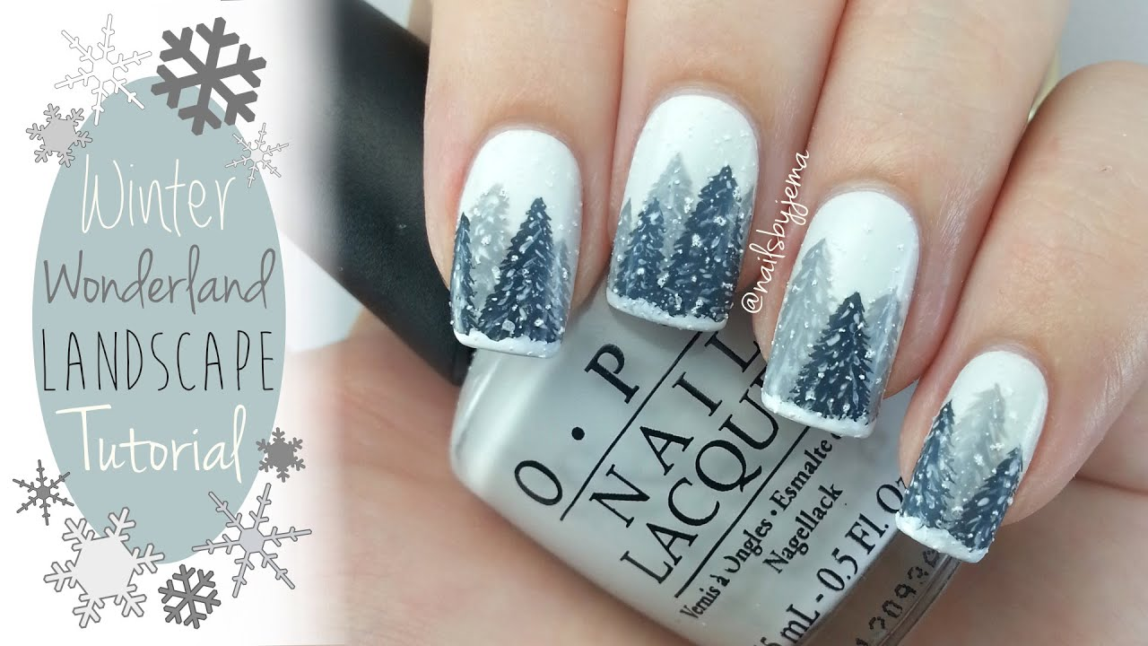 Easy Winter Wonderland Nails Tutorial - YouTube