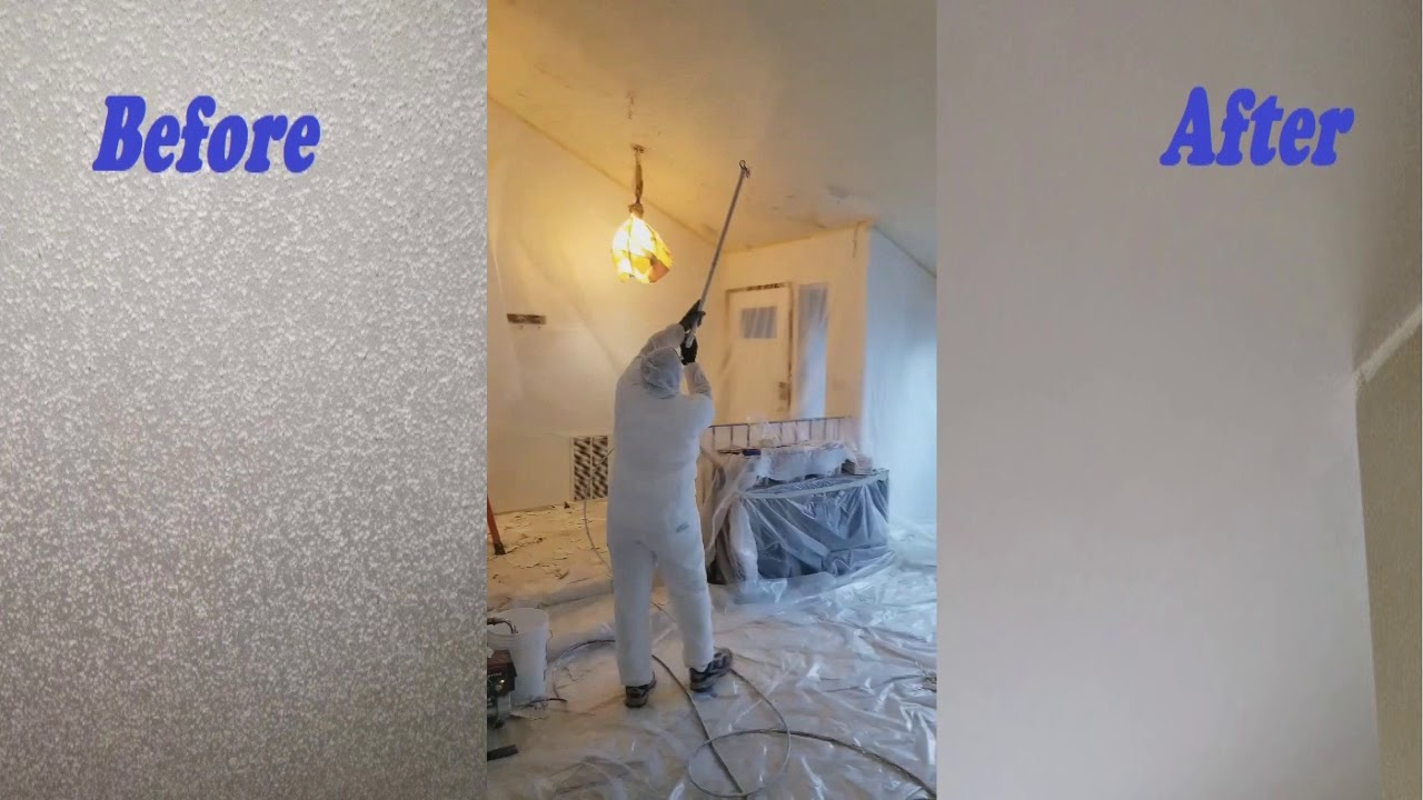 Transform Your Popcorn Ceiling Into Smooth Ceiling Youtube