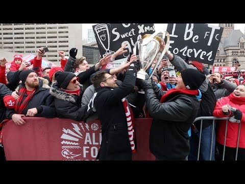 Thousands of Toronto FC fans pack Nathan Phillips Square to celebrate MLS Cup championship