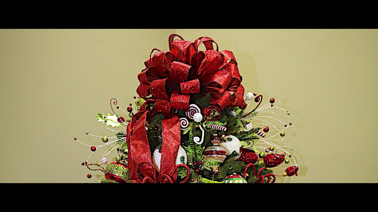 Red Bow Tree Topper   Www.probowthehand.com   YouTube