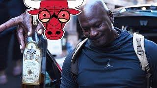 Michael Jordan STUMBLES w/ BLOODSHOT EYES & Half Empty Bottle of TEQUILA