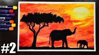 Рисунок  Масляной Пастелью Для начинающих Закат  Oil Pastel drawing for beginners Sunset