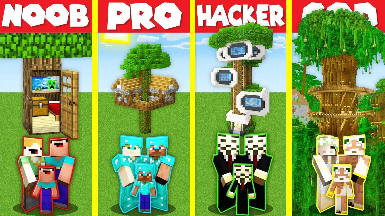 Download Minecraft Battle: MODERN TREE BASE HOUSE BUILD CHALLENGE - NOOB vs PRO vs HACKER vs GOD / Animation