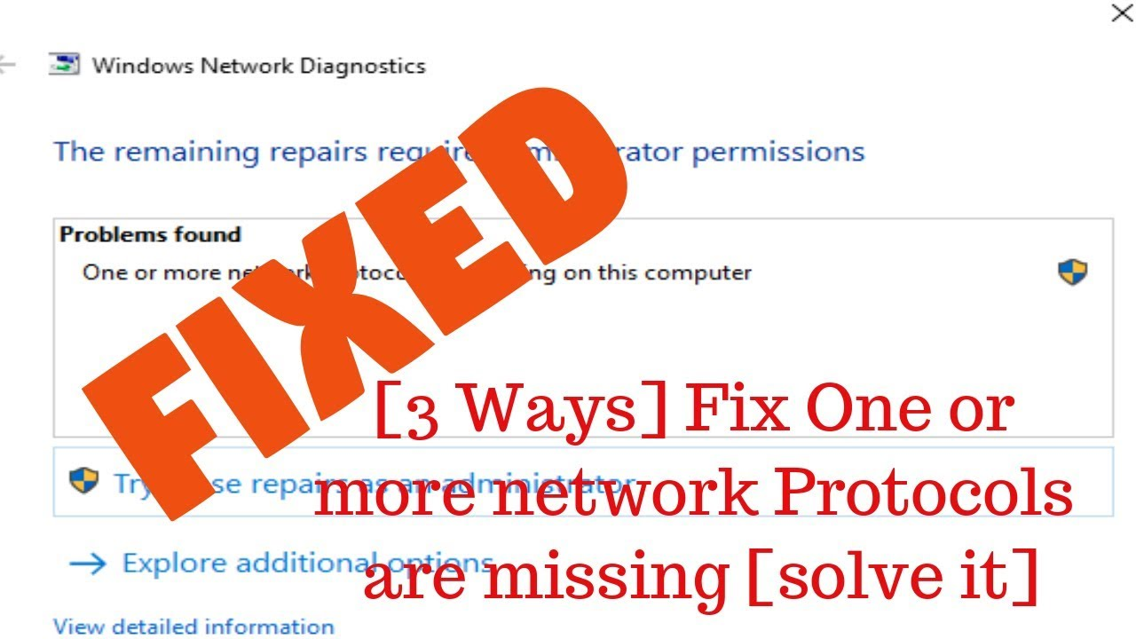 one or more network protocols are missing
