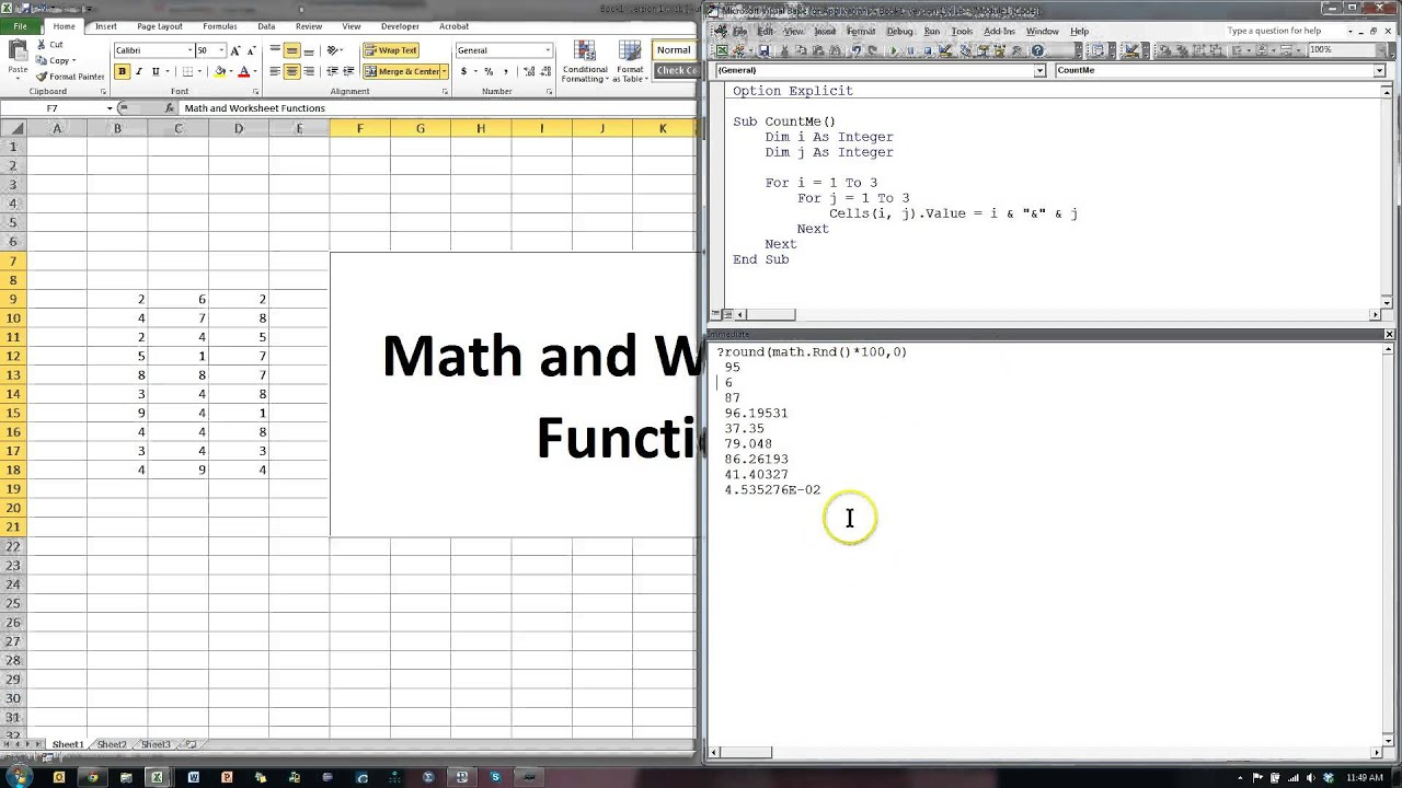 Excel Vba Worksheet Function And Math