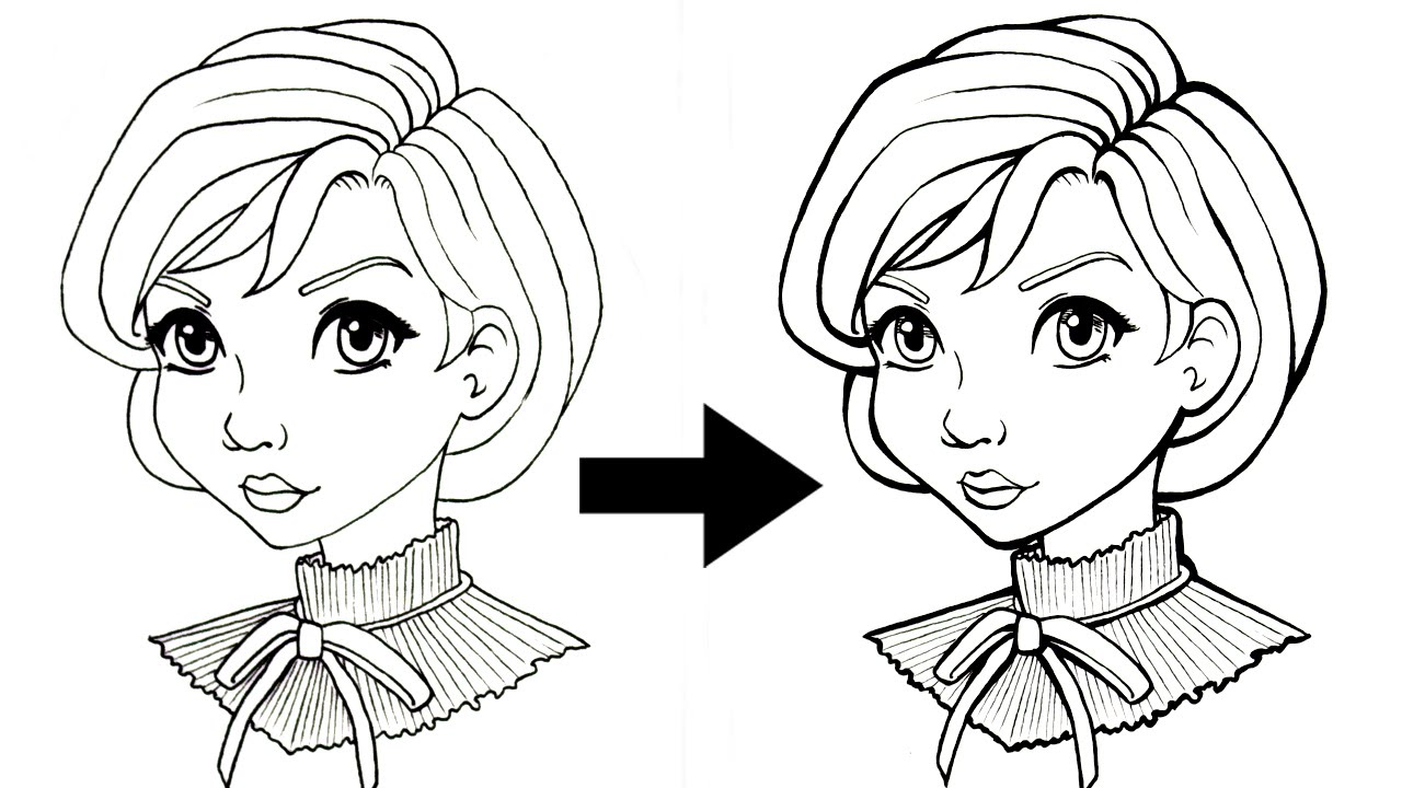 Line Art Design Tutorial : Inking tutorial tips tricks to add line weight youtube