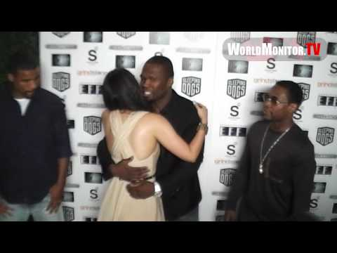 Curtis 50 Cent Jackson, Floyd Mayweather Jr, Miss Shantel Jackson at Freelancers premiere