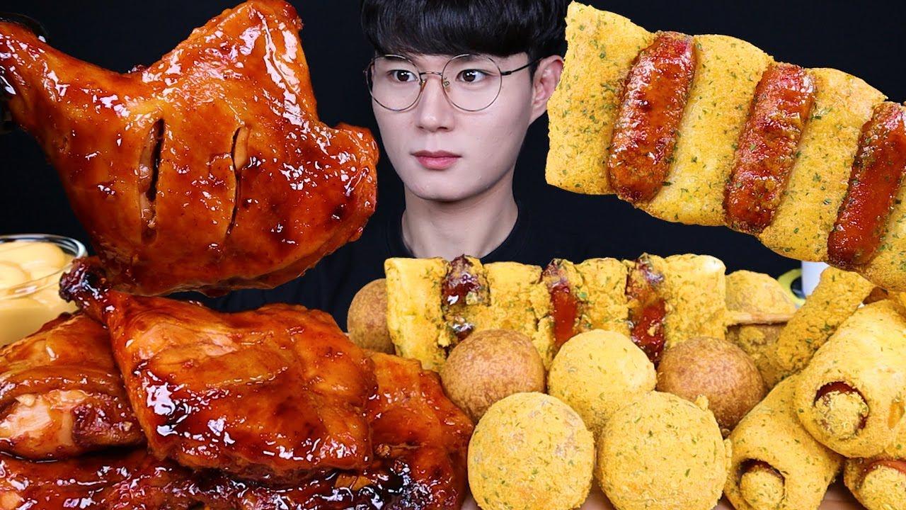붐바스틱 뿌링소떡 치즈볼 치킨 먹방ASMR MUKBANG SPICY BBQ CHICKEN & TTEOKBOKKI &CHEESE BALLS チキン トッポッキ eatin