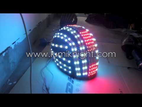 Illuminated Full Color Led Robot Suit Helmet Youtube