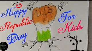 How to Draw HAPPY REPUBLIC DAY Drawing for kids || REPUBLIC DAY poster Step by step || 26 January ||