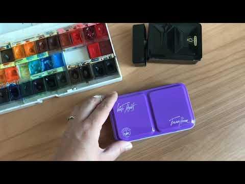 Новый пенал фиолетовый невская палитра White Nights Violet Watercolor Box Neva Palette Review