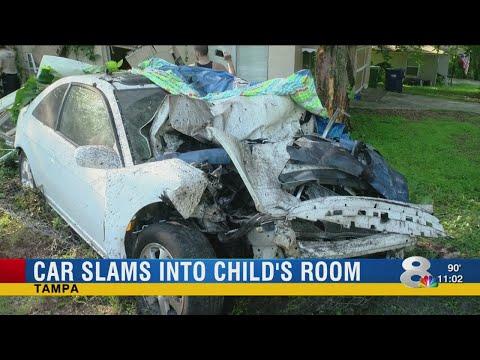 Car slams into child's room in Tampa