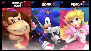 Super Smash Bros Ultimate Amiibo Fights Request #584 Donkey Kong vs Sonic & Peach