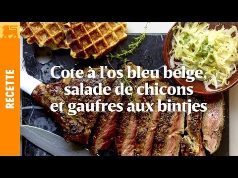 Côte à l'os Blanc Blue Belge, salade de chicons et gaufres aux bintjes