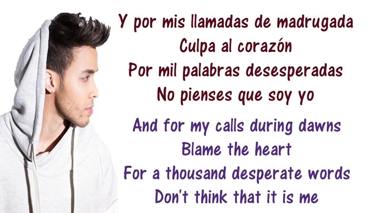 Prince Royce - Culpa Al Corazón Lyrics English and Spanish ...Prince Royce - Culpa Al Corazón Lyrics English and Spanish - Translation &  Meaning - Blame the heart