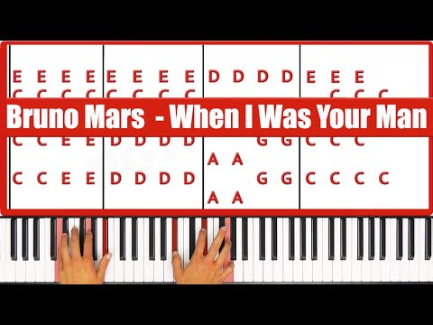 When I Was Your Man Bruno Mars Piano Tutorial - VOCAL