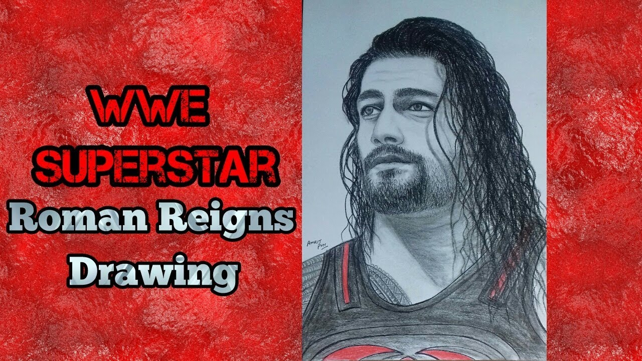 How to draw roman reigns drawing wwe superstar pencil drawing amrit pun 2018