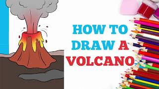 How to Draw a Volcano in a Few Easy Steps: Drawing Tutorial for Kids and Beginners