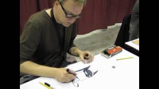 Bruce Timm drawing Batman at Calgary comic & entertainment expo