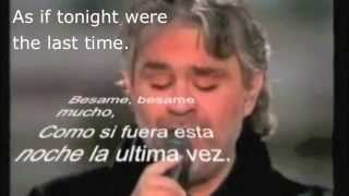 besame mucho andrea bocelli with spanish lyrics subtitles and english translation