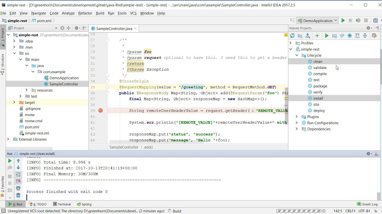 Debugging spring boot application in Intellij