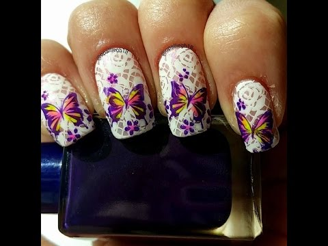 advanced stamping  lace butterflies nail stamping  twin mani with @nailartbymae