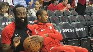 James Harden Tries To Have Fun But Carmelo Anthony Isn't Feeling It!
