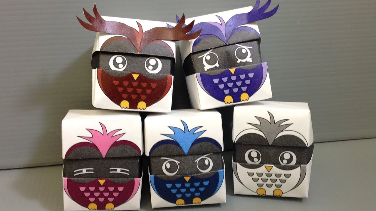 origami changing faces owl cube print at home youtube