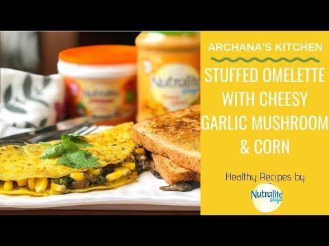 Stuffed Omelette With Cheesy Garlic Mushroom & Corn Recipe – Breakfast Recipes By Archana's Kitchen