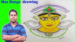 How to draw Maa Durga  step by step |Hindu Goddess | Rong-Bahar Art|