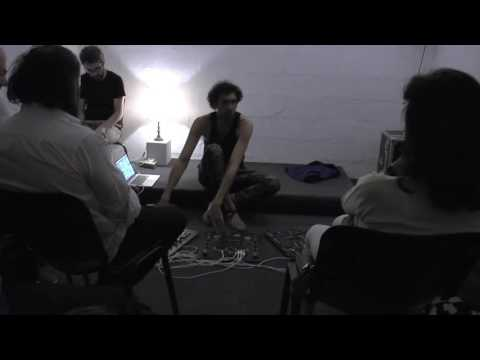 Concert of Tarek Atoui at Beirut Art Center, performing a part of Sharif  Sehnaoui's