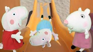 Peppa pig y amigos en español: pepa! fiesta y juegos en la playa con parque infantil.Video juguetes