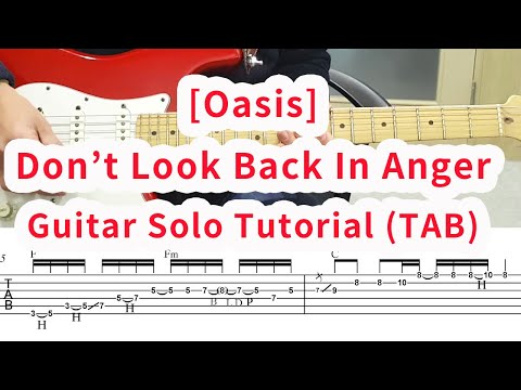 Don't look back in Anger Guitar solo (TAB) slow