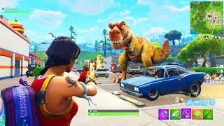 SHOOTING THE DINOSAUR AT GREASY GROVE.. (WHAT HAPPENS?) (Fortnite Funny Fails and WTF Moments) #12