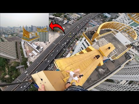 WOULD YOU SLIDE DOWN THIS? Crazy gold rooftop!!