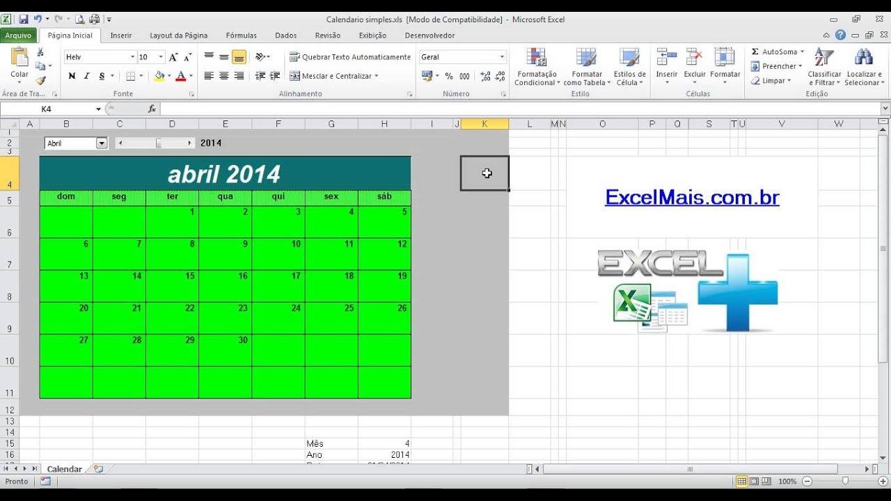 Calendario Dinamico Excel.Calendario Profissional No Excel