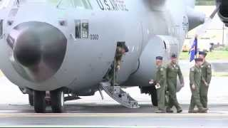 amazing b roll flyover and final flight of c 130 s to honor 537th airlift squadron