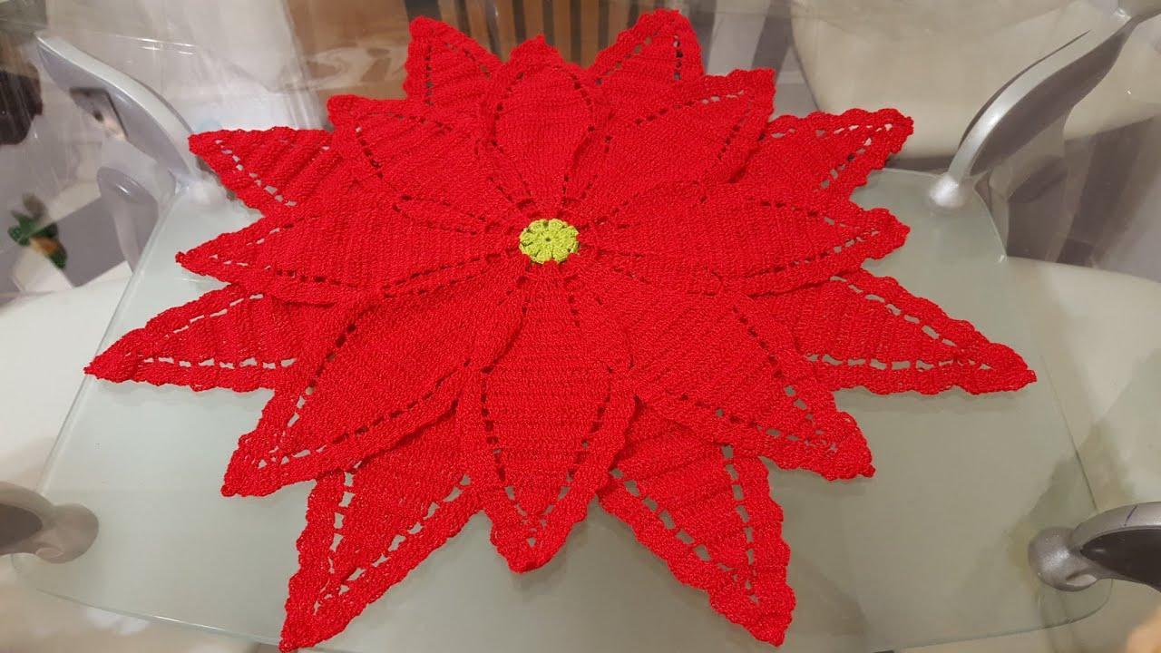 1 flor de nochebuena a crochet para camino o centro de for Como hacer caminos de mesa modernos