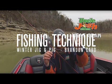 Bass Fishing Technique Video - Brandon Card Winter Jig & Pig