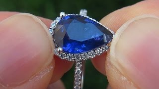 Natural Cornflower Blue Sapphire Diamond Engagement Wedding Ring 14k Gold - A141715