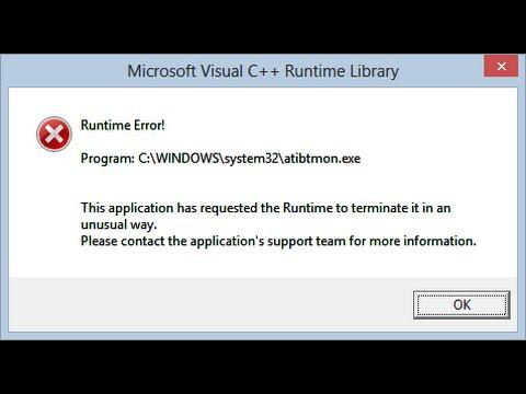 atibtmon.exe error windows 10