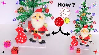 DIY Christmas Room Decor ideas/ How to make Santa Claus from Plastic Ball/ Easy Newspaper Craft