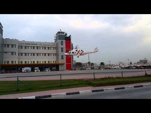 Helicopter takeoff from Rashid hospital